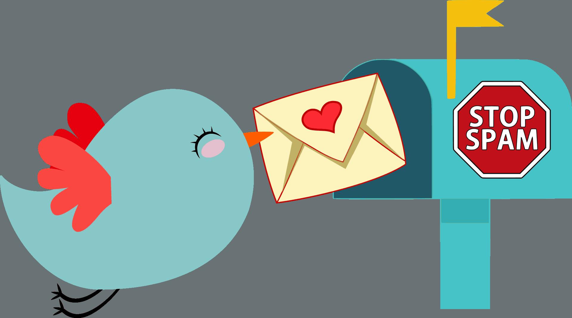Vogel stellt Brief zu an Briefkasten mit Spam-Stopschild.